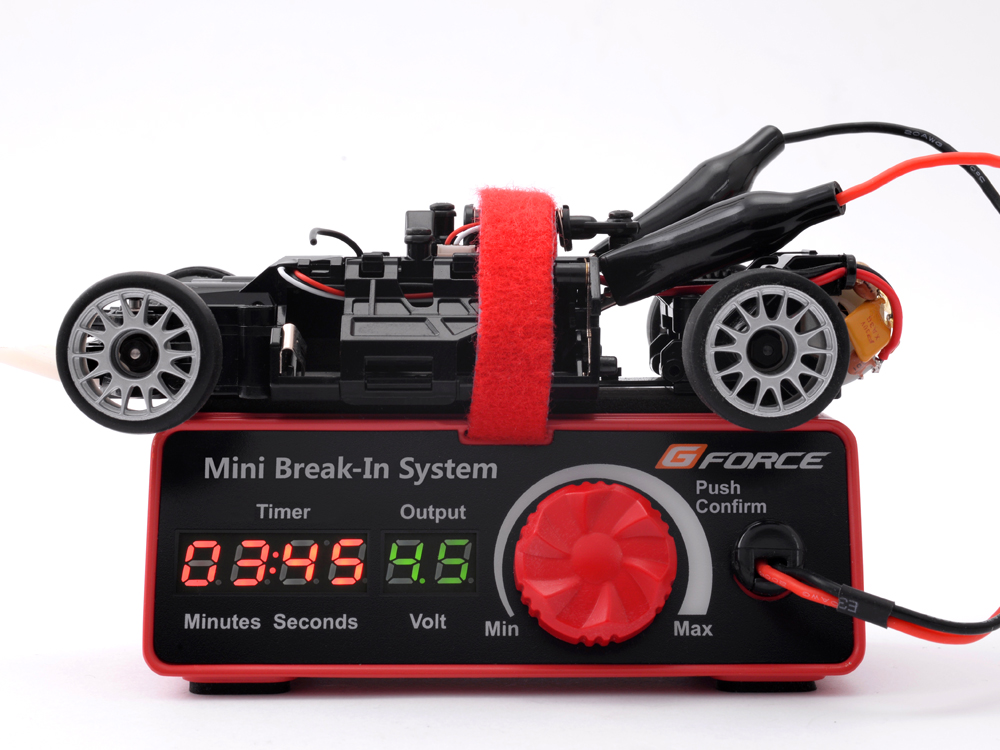 "GForce introduce the Mini Break-in system for mini and micro-size brushed motors. Designed for the use with Tamiya's Mini 4WD series of ""slot cars"", ..."